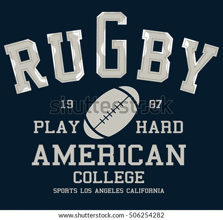 College vector label and print design for t shirt. American football  graphic. a535c95ac
