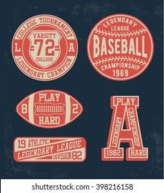 College vector label and print set, t-shirt graphics, vectors