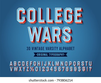 'College Wars' Vintage Retro 3D Varsity Sport Alphabet. Original Athletic Department Typeface. Retro Typography. Vector Illustration.