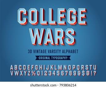 'College Wars' Vintage Retro 3D Varsity Sport Alphabet. Original Athletic Department Typeface. Retro Typography. Vector Illustration.
