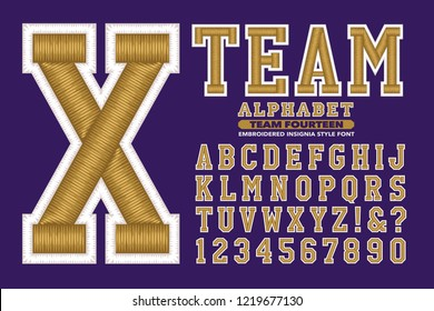 A collegiate or sports style alphabet. This font has 3d embroidered stitching effects.