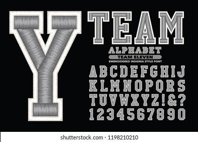 A collegiate or sports styled alphabet font. This lettering has a 3d embroidered thread effect