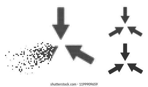 Collide 3 arrows icon in disappearing, dotted halftone and undamaged entire variants. Points are organized into vector disappearing collide 3 arrows symbol.