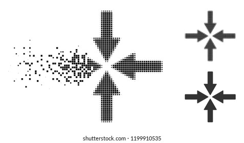 Collide arrows icon in disappearing, pixelated halftone and undamaged whole versions. Pixels are arranged into vector disappearing collide arrows form. Disappearing effect uses square points.