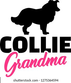 Collie Grandma silhouette in black
