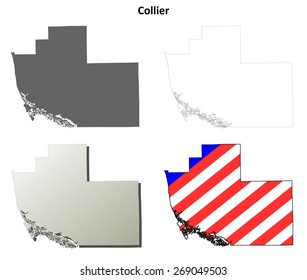 Collier County (Florida) outline map set
