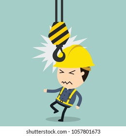 Collision with Crane, Vector illustration, Safety and accident, Industrial safety cartoon