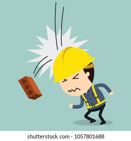 Collision with falling brick, Vector illustration, Safety and accident, Industrial safety cartoon
