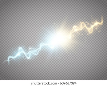 Collision of two forces with gold and blue light. Vector illustration. Hot and cold sparkling power. Energy lightning with electric discharge isolated on transparent background