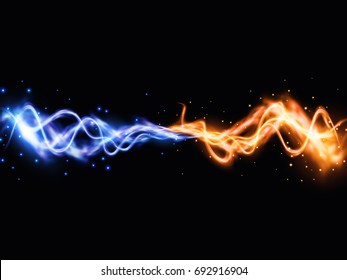 Collision of two forces with yellow and blue lights. Vector light effect. Realistic lightnings.