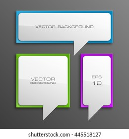 Colloquial cloud on a rectangular background. Square banner. Three speech bubbles. Volumetric die for labels. Abstract vector banner. Design shape. Rectangle form. Volume lettering dies.