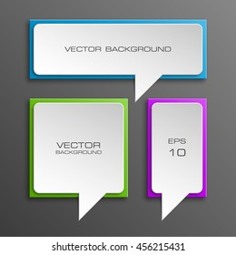 Colloquial cloud on a rectangular background. Square banner. Three speech bubbles. Volumetric die for labels. Abstract vector banner. Design shape. Rectangle form.