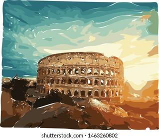 Colloseum vector in Rome, Italy.