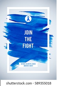 COLO RECTAL Cancer Awareness Creative Grey and Blue Poster. Brush Stroke and Silk Ribbon Symbol. National Colon Cancer Awareness Month Banner. Brush Stroke and Text. Medical Vertical Design