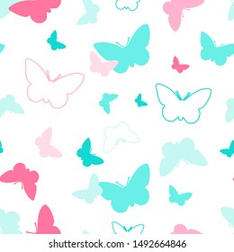 Coloful butterfly seamless pattern vector.