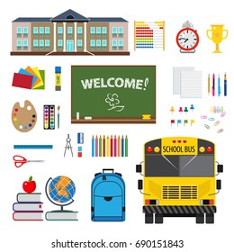 Coloful flat desing with set of stationary elements, school and school bus. Isolated on white background.