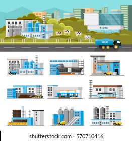 Coloful industrial composition with different manufacturing plant and factory buildings isolated vector illustration
