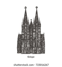 Cologne Cathedral (Kölner Dom). Roman Catholic cathedral in Cologne, Germany. Monument of German Catholicism and Gothic architecture. Vector hand drawn illustration isolated on white background.