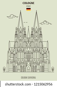 Cologne Cathedral in Cologne, Germany. Landmark icon in linear style