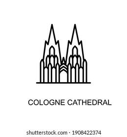 Cologne Cathedral, Cologne, Germany,  landmark icon in vector. Logotype