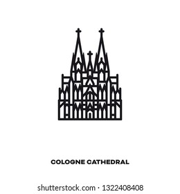 Cologne Cathedral, Germany, vector line icon. International landmark and tourism symbol.
