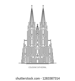 Cologne cathedral - landmark of Cologne, Germany. Monument of German Catholicism and Gothic architecture. Linear style outline vector illustration on white background