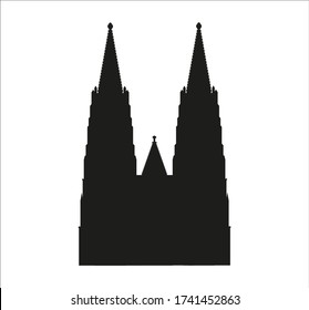 Cologne city cathedral in Germany. Illustration for web and mobile design.