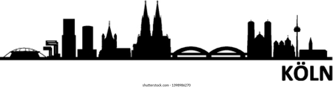 Cologne City Germany Skyline Silhouette Vector