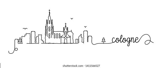 Cologne City Skyline Doodle Sign