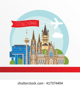 Cologne detailed silhouette. Trendy vector illustration, flat style. Stylish colorful  landmarks. Great St. Martin Church, Cologne Cathedral, Kranhaus the symbol of Germany.