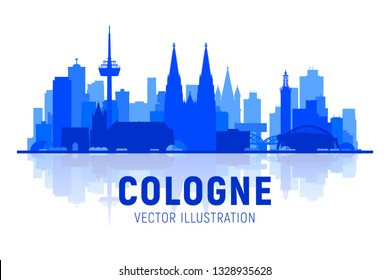 Cologne ( Germany ) city silhouette skyline with panorama on white background. Vector Illustration. Business travel and tourism concept with old buildings. Image for presentation, banner, web site.