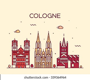 Cologne skyline, detailed silhouette. Trendy vector illustration, linear style