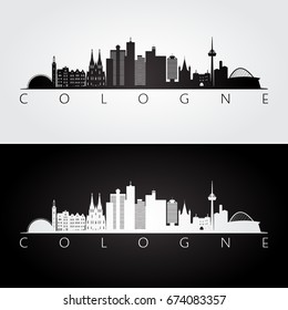 Cologne skyline and landmarks silhouette, black and white design, vector illustration.