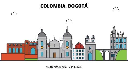 Colombia, Bogota outline city skyline, linear illustration, banner, travel landmark, buildings silhouette,vector