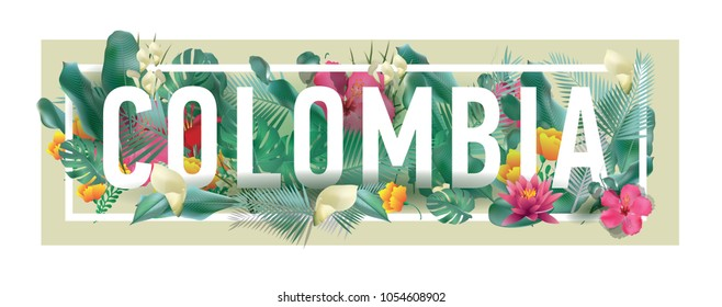 Colombia City Typographic Floral Framed Vector Card Design