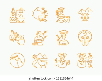 colombia coffee single origin line icon design with woman pick fruits,lama eat coffee fruits,uncle with hat ,toucan on tree and hot cofee on clock tower view