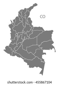 Colombia departments Map grey