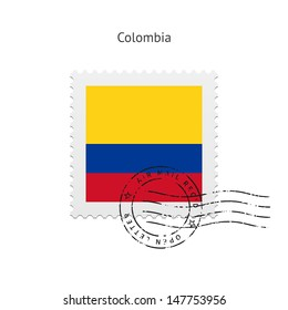 Colombia Flag Postage Stamp on white background. Vector illustration.