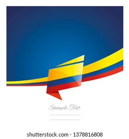Colombia flag ribbon New abstract origami blue background banner vector