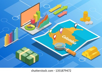 colombia isometric business economy growth country with map and finance condition - vector