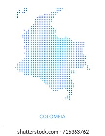 Colombia map, dot vector background