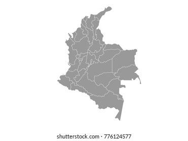colombia map. High detailed map of colombia on white background. Vector illustration eps 10.