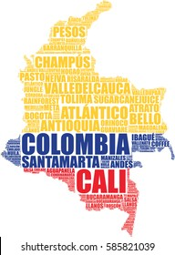 Colombia map silhouette vector tag cloud