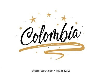 Colombia. Name country word text card, banner script. Beautiful typography inscription greeting calligraphy poster black, gold ribbon, star. Handwritten design modern brush lettering isolated vector