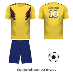 Colombia national soccer team shirt in generic country colors for fan apparel