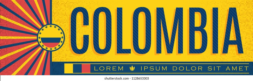 Colombia patriotic banner vintage design, typographic vector illustration, colombian flag colors