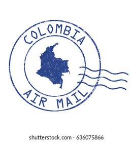 Colombia post office, air mail, grunge rubber stamp on white background, vector illustration