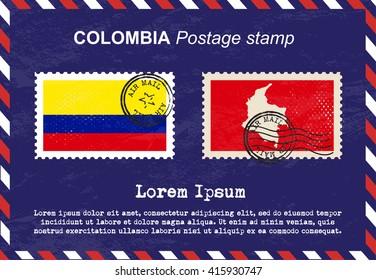 Colombia postage stamp, postage stamp, vintage stamp, air mail envelope.