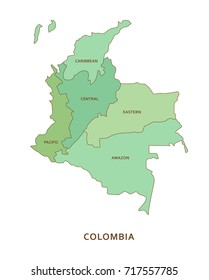 Colombia regions, vector geography background