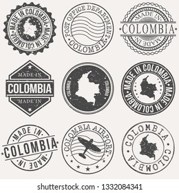 Colombia Set of Stamps. Travel Stamp. Made In Product. Design Seals Old Style Insignia.
